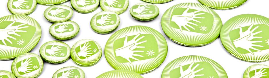 Gehörlos in Wien - Buttons grün