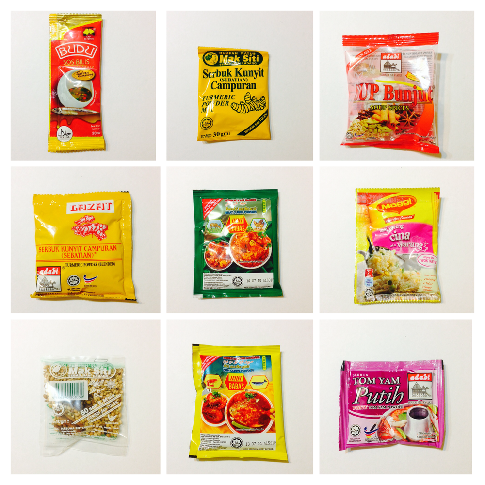 variety of cooking sauces, spice powders, soup flavourings & sauces by different brands rm0.50-rm1 per packet village grocer/aeon