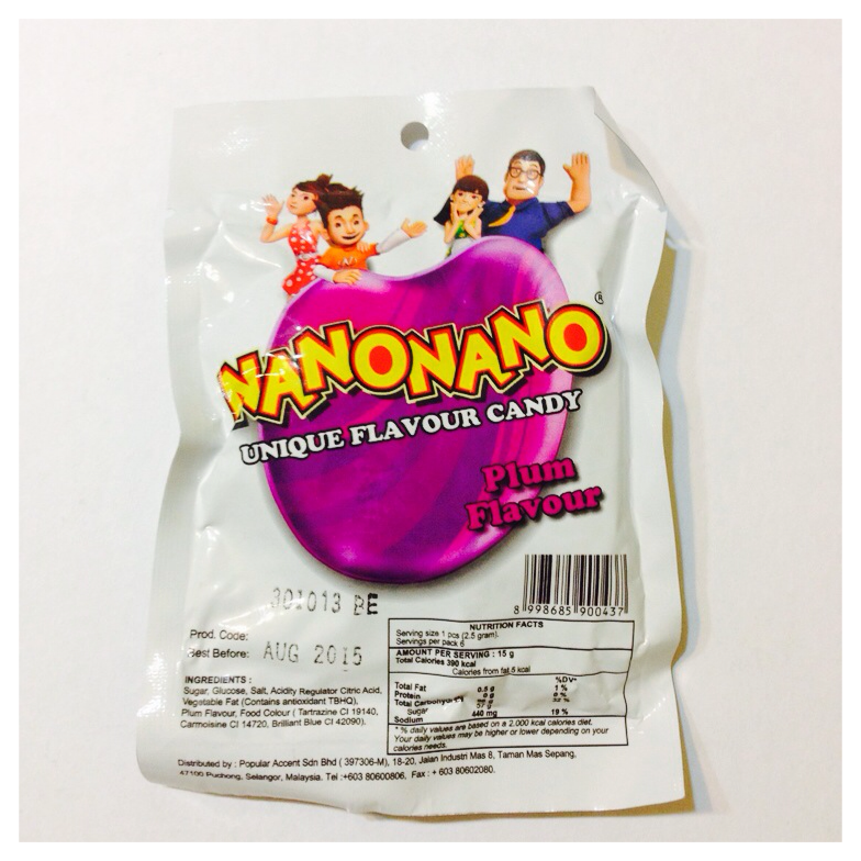 plum-flavoured candy, nanonano rm0.90 aeon