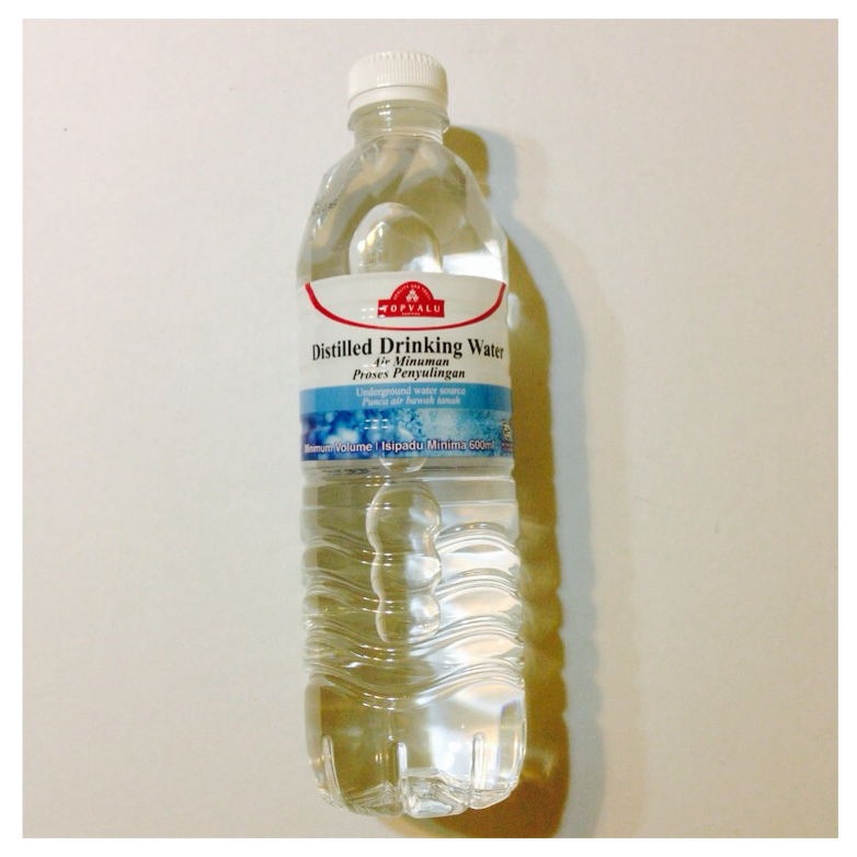 distilled drinking water, topvalu (500ml) rm0.49 aeon