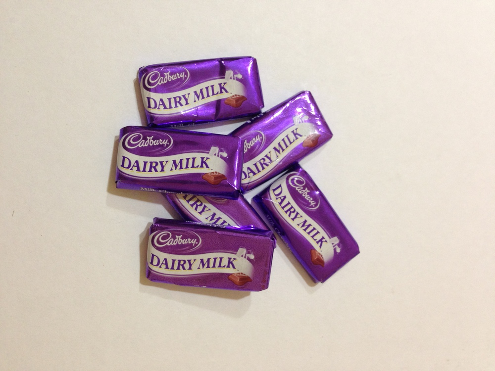 mini dairy milk bars, cadbury rm1 for a packet of 6 pcs caltex shop
