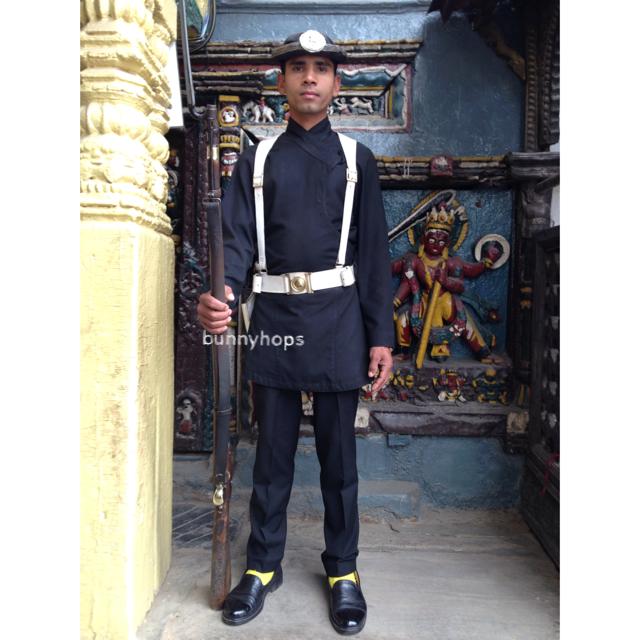 a guard at kathmandu durbar square