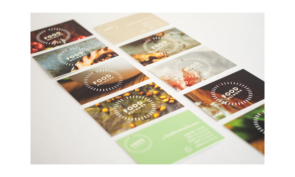 Variety of card designs; chosen to conceptually echo the variety of chefs, food methods, multi-media platforms and shows that the Food Network has. Each back has two designs w/ contact info (see top right brown card, and bottom left green card). Photographer credit: Scott-Tsai.com