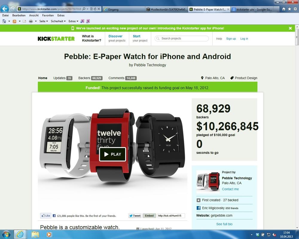 Pebble Watch als bisher erfolgreichstes Kickstarter-Projekt