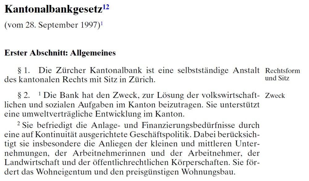 Auszug aus dem Zürcher Kantonalbankgesetz
