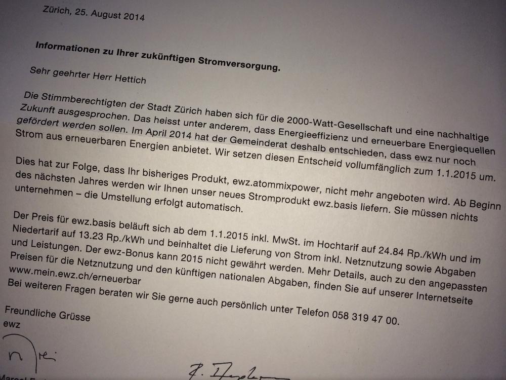 Brief der ewz vom 25. August 2014 (eigenes Bild)