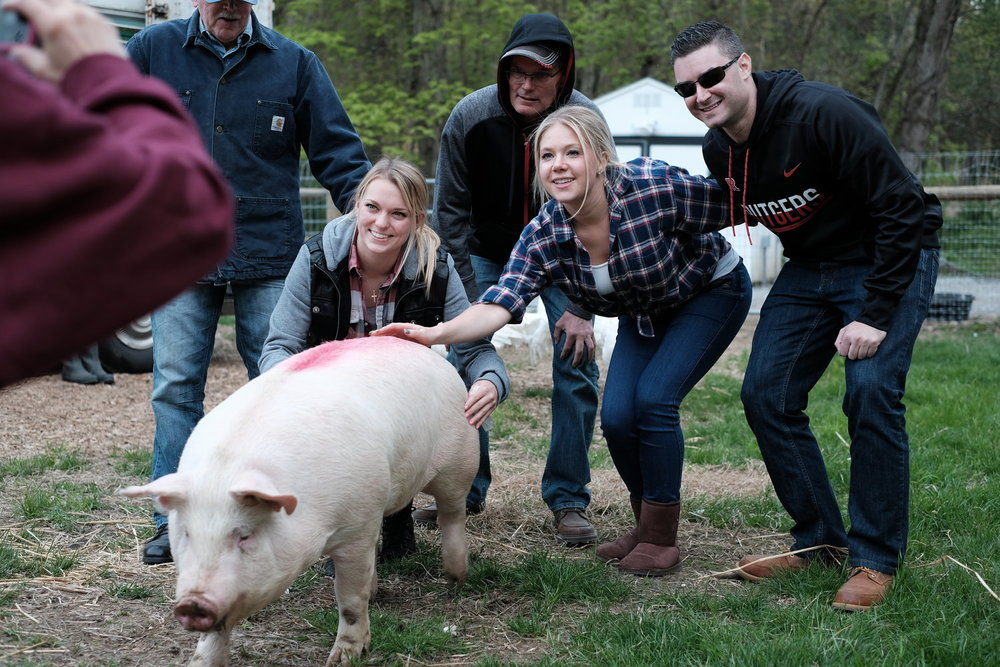 The family that would not give up on Pecan. This was Pecan's first time on grass.