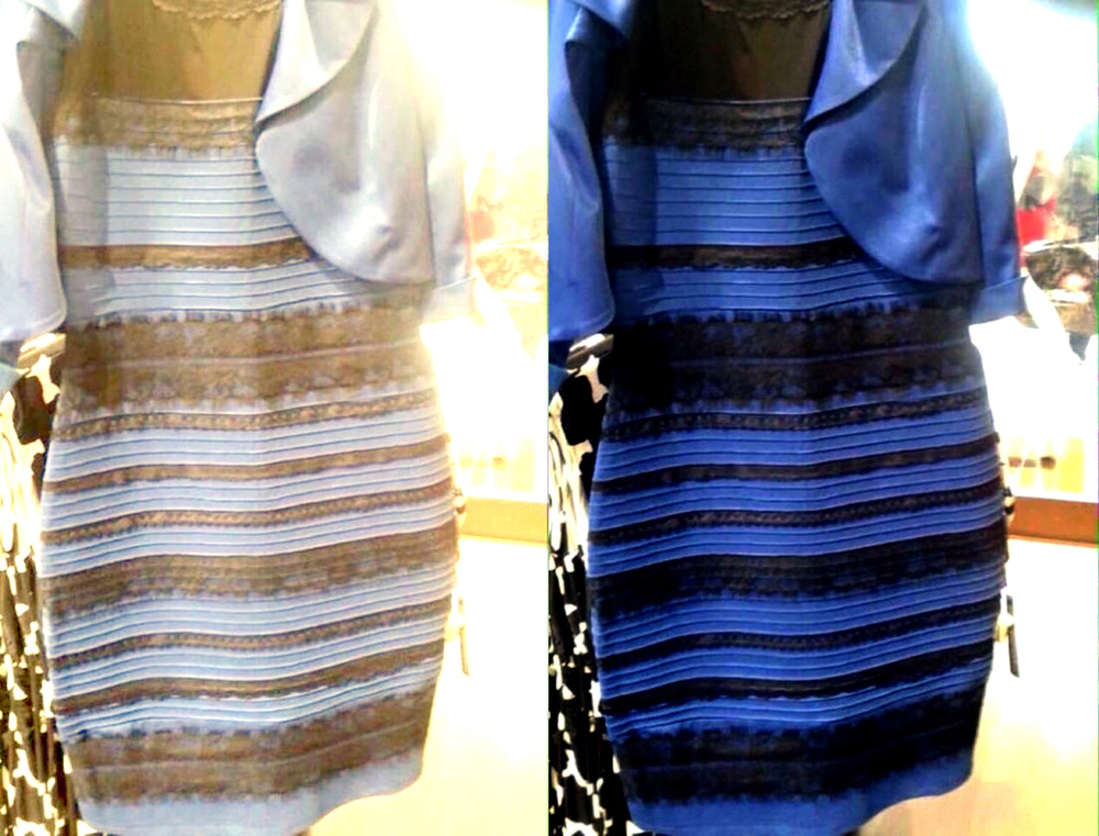 Is the dress blue and black or white and gold images