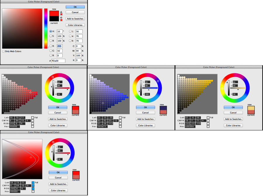 Figure 9: top: Adobe Photoshop's current color picker; middle row: showing chroma relative to value; bottom: granular mode – showing CMYK gamut within RGB gamut.