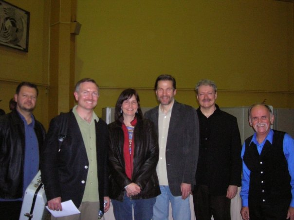 Sheila with the boys from Blue Highway at Wintergrass 2009