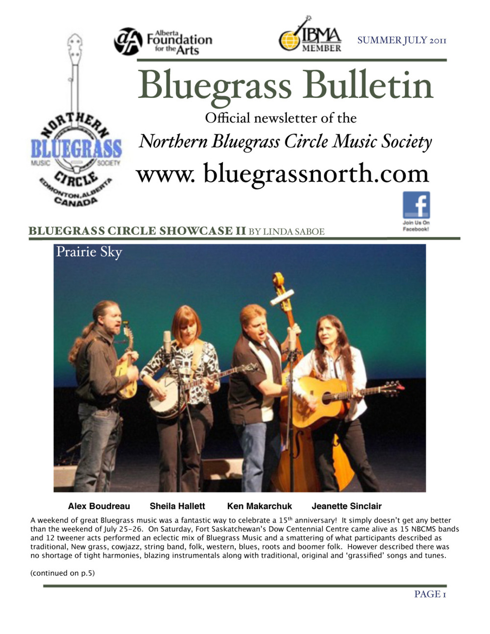 "On the ""Cover of the Bluegrass News"""