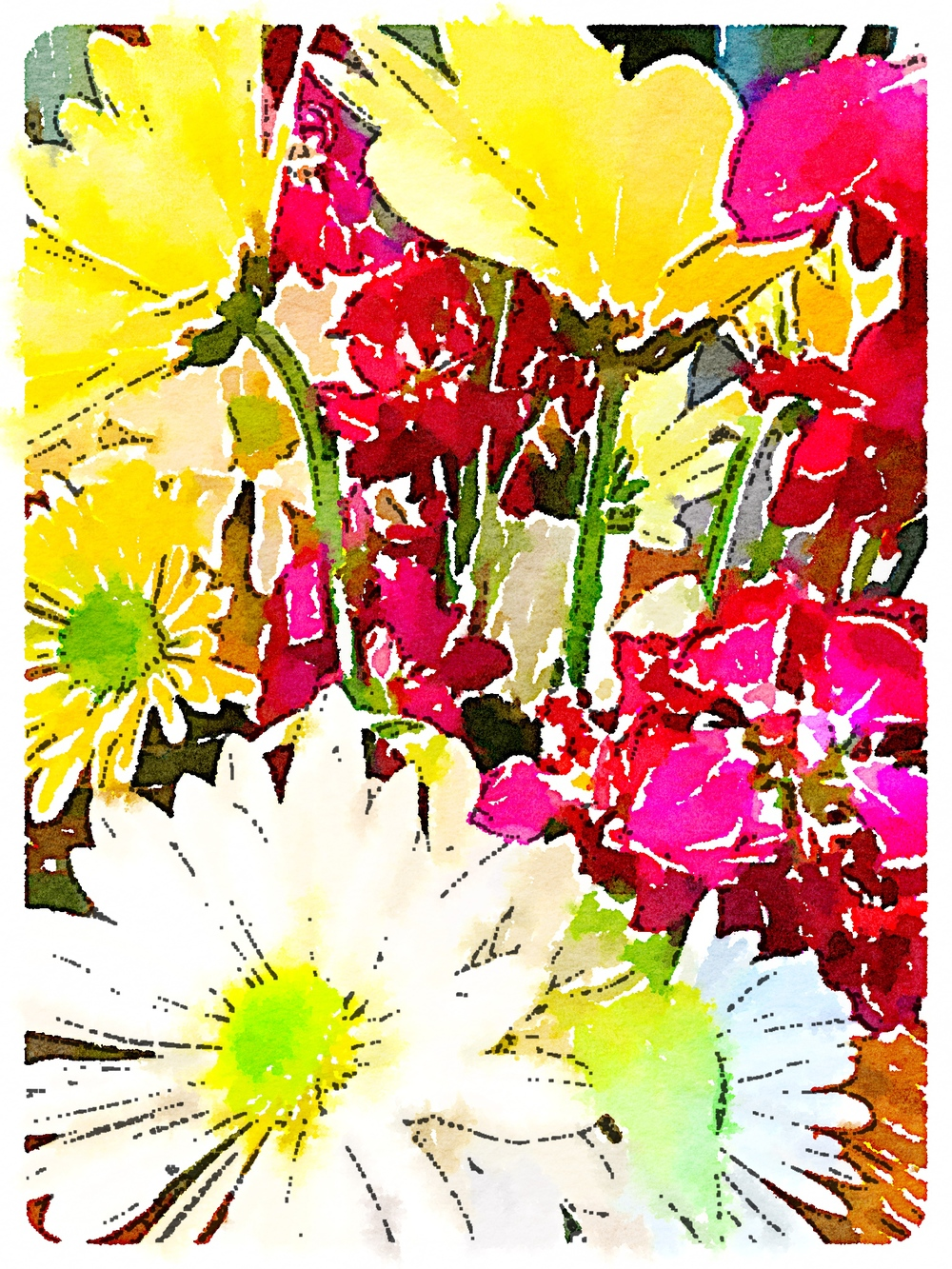More playing with #Waterlogue app while enjoying my birthday bouquet while it lasts...