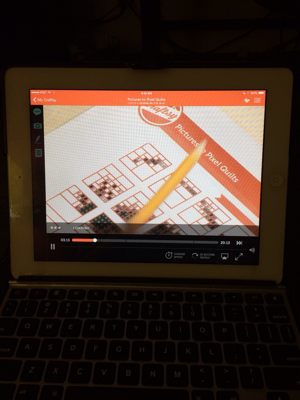 Watching Craftsy on my iPad while out of town