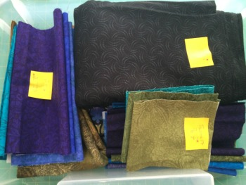 Fabrics sorted and labeled