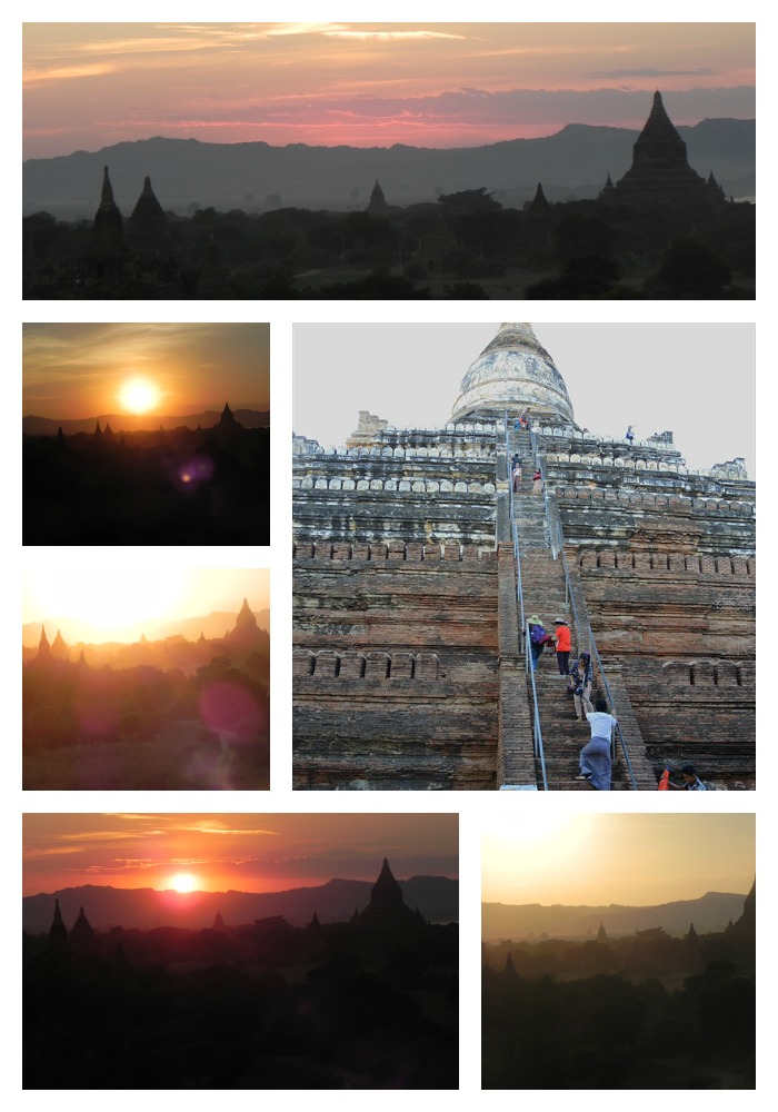 Shwesandaw Pagoda--all of the sunset photos are mine; the photo of the steps up the pagoda was taken by one of my friends.