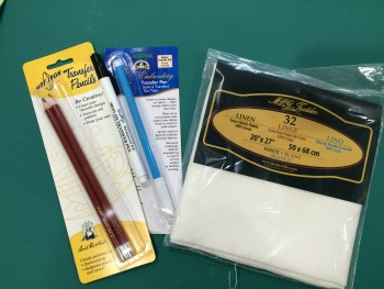 Based on this class, I picked up a handful of new supplies--some linen for testing and a few different types of image transfer pens/pencils.