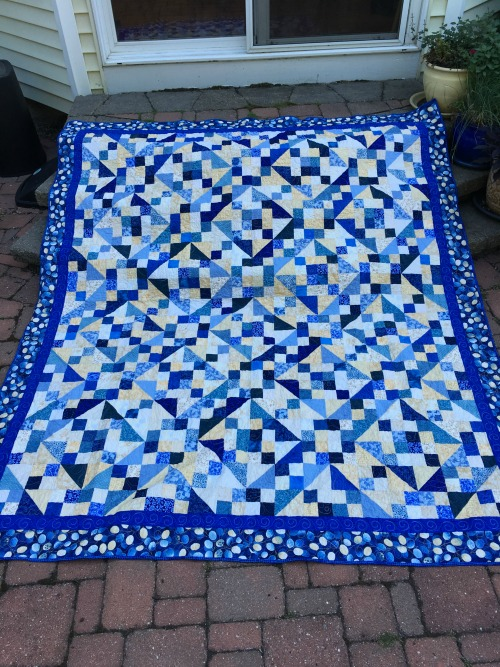 "Whole quilt. Can you see the slight ""woven"" feel to the design? I love Jacob's Ladder because it's a seriously versatile block!"
