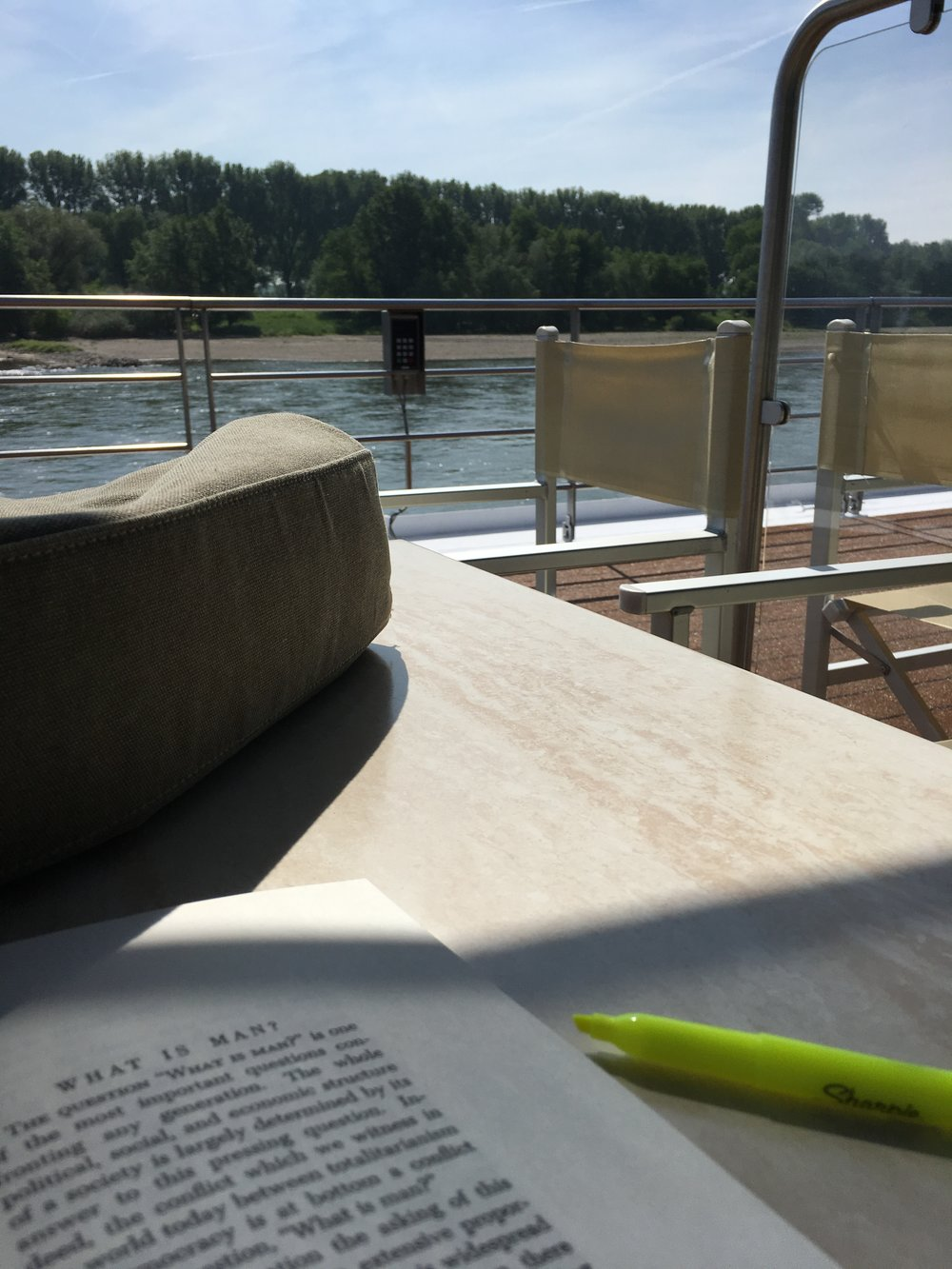 Studying while cruising the Rhine--there's worse places to get my reading done!