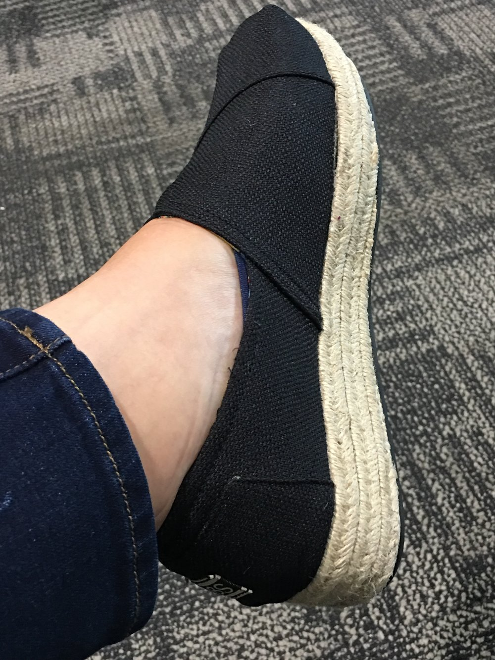 During a layover in Detroit coming home from vacay. Even at the end of two weeks of walking, my feet still loved these Skechers!