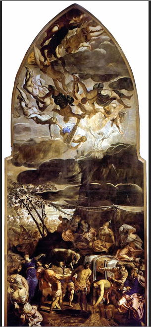 Tintoretto -- Moses Receiving the Tables of the Law