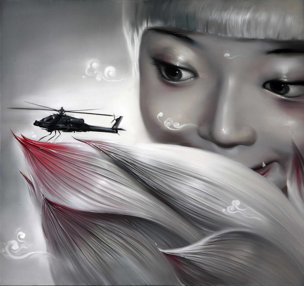 Mu Lei,  Ambush , 2010, oil on canvas, 160 x 150cm