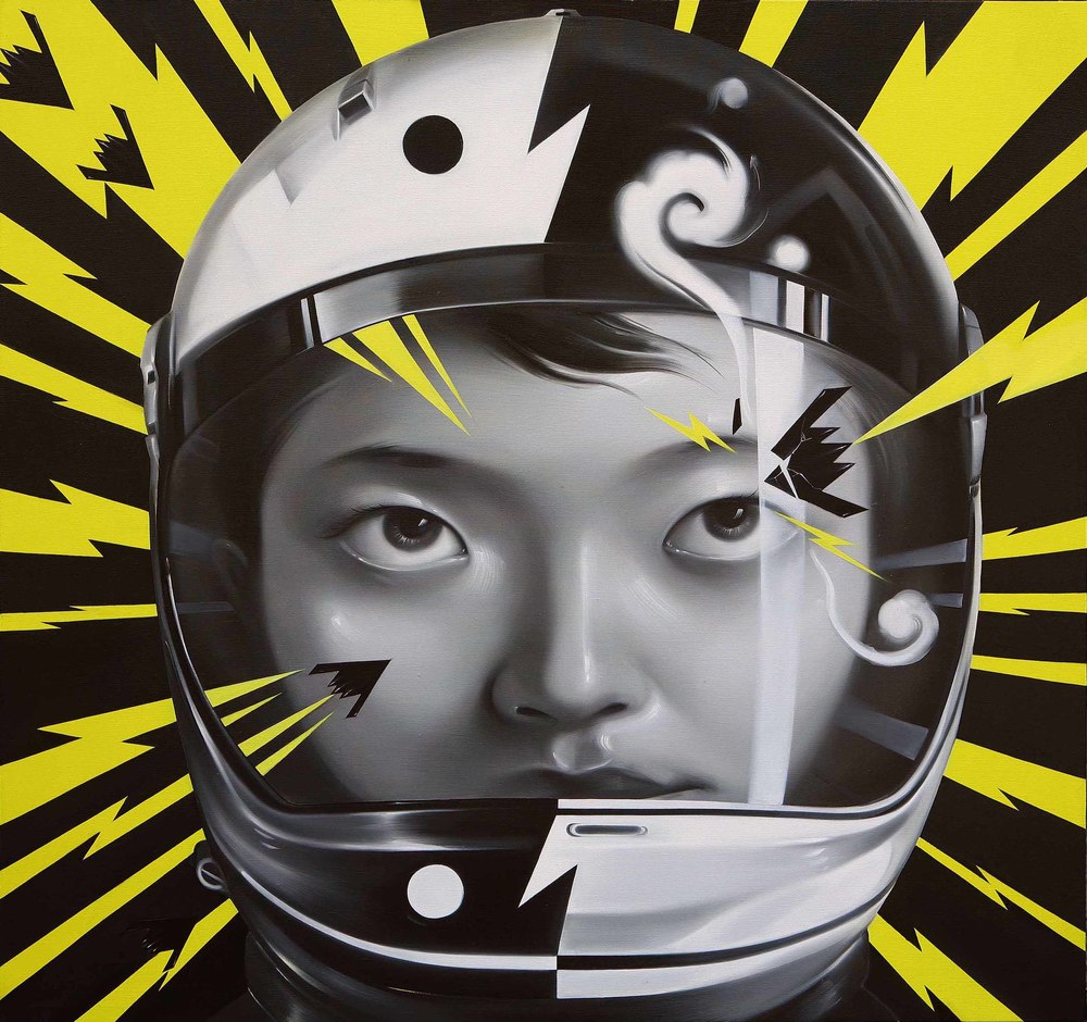 Mu Lei,  Taiji Lightning Helmet , 2009, oil on canvas, 160 x 150cm