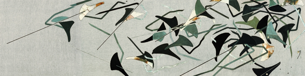 Nine Birds Perched on Trees,  2007, ink and mixed media on linen, 90 x 360 cm