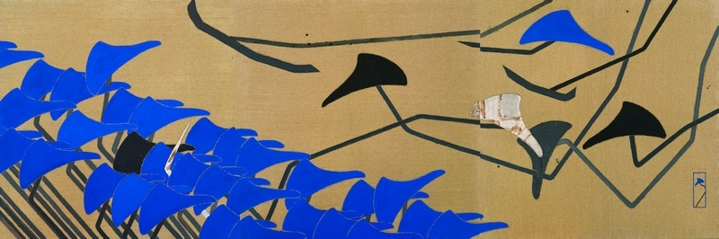 Blue,  2011, ink and mixed media on linen, 90 x 360 cm