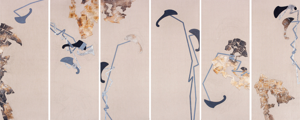 Scholars Rocks  No.9, 2012, enamel,gold foil and mixed media on linen, sextych, 250 x 100cm each (98.4 x 39.3 in.)