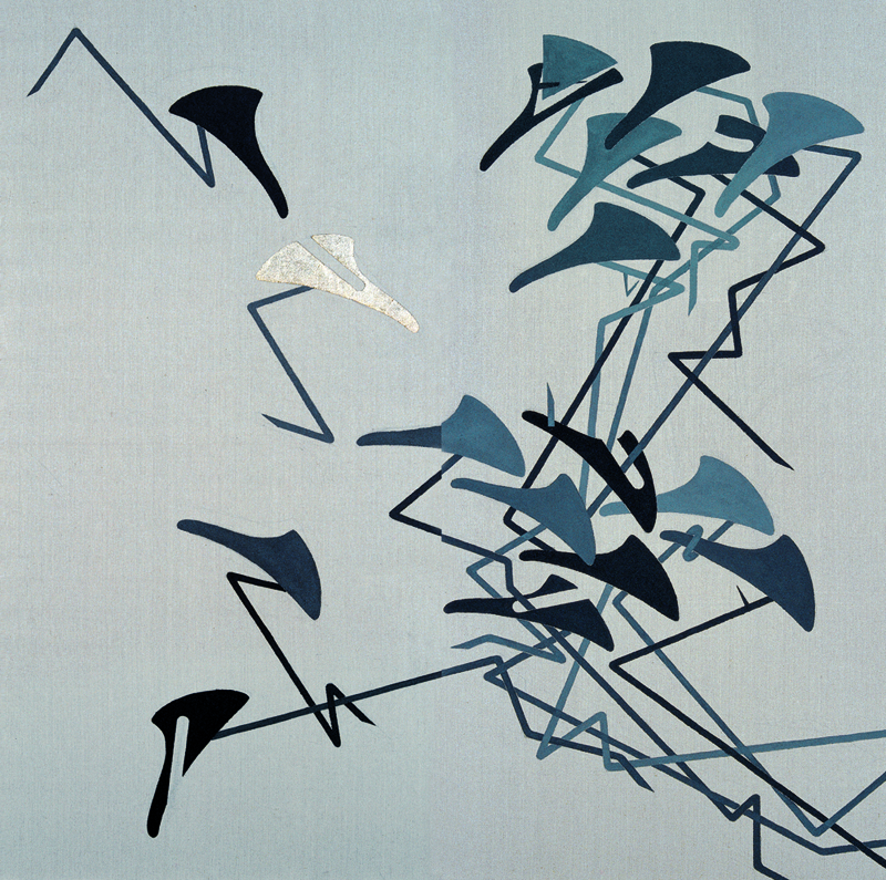 Silent Grey,  2011, ink and mixed media on linen, 200 x 100 cm