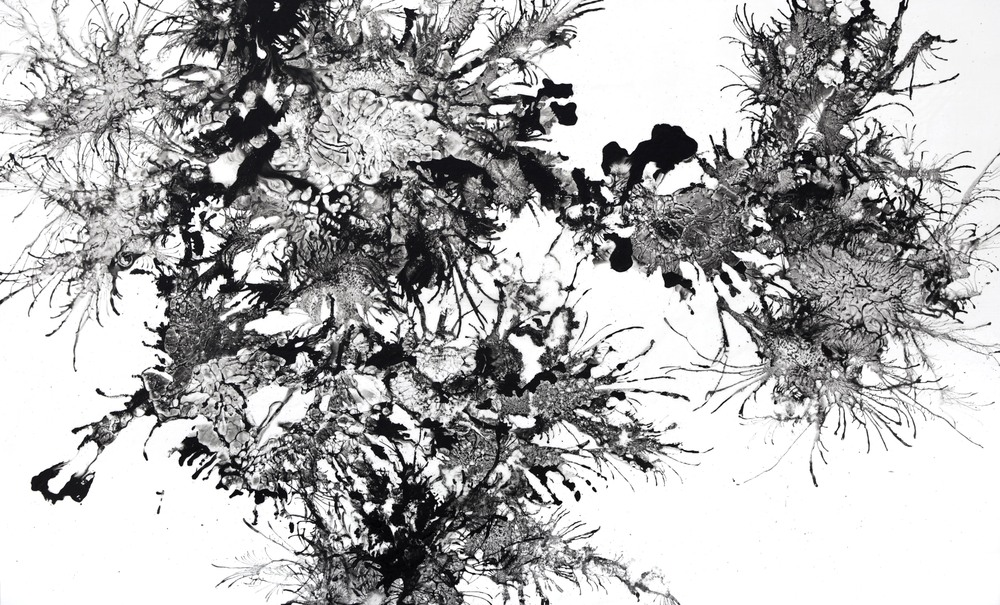 Beili Liu,  Wind Drawings, Array 2 , triptych, Sumi ink on birch panel, 36 x 60 inch. each, 2012