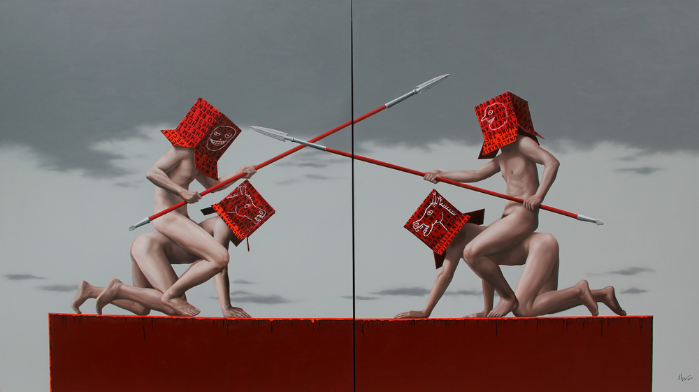 Zheng Hongxiang,  Battle,  oil on canvas, 200 x 360cm (diptych) ,  2012. (Private Collection)
