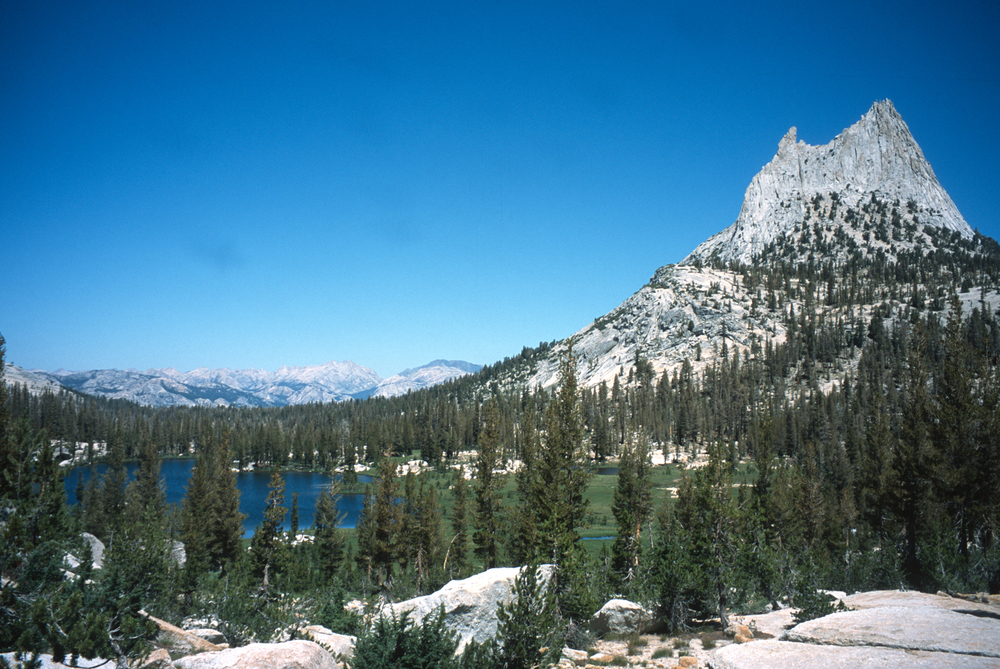 Cathedral Peak is a distinctive landmark along the John Muir Trail.