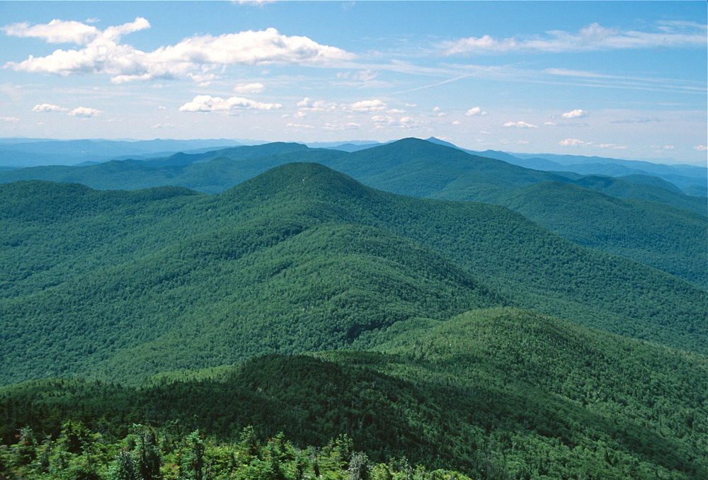 The Long Trail rises and falls along the ridge of the Green Mountains in Vermont.