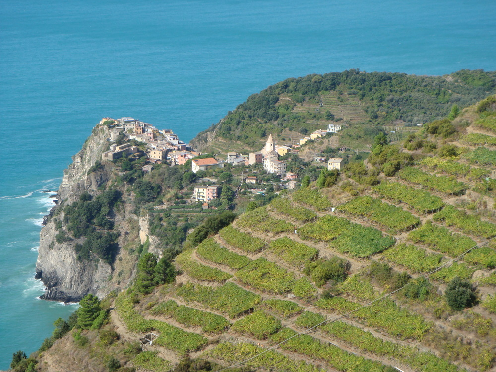 Walkers above Corniglia enjoy spectacular views of both land and sea.