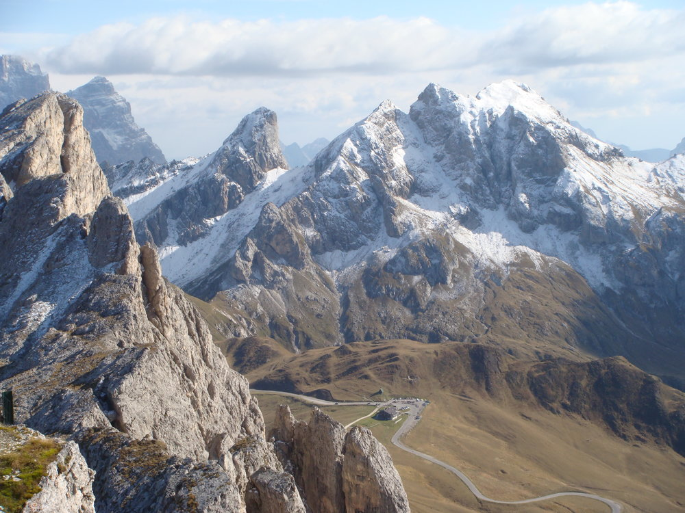 The Dolomites are known for their rugged limestone peaks.