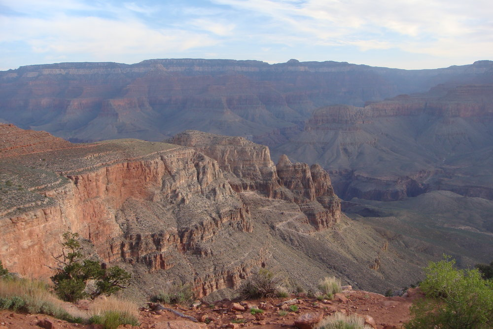 The Kaibab Trail uses a series of switchbacks to navigate the steeper sections of the Grand Canyon.