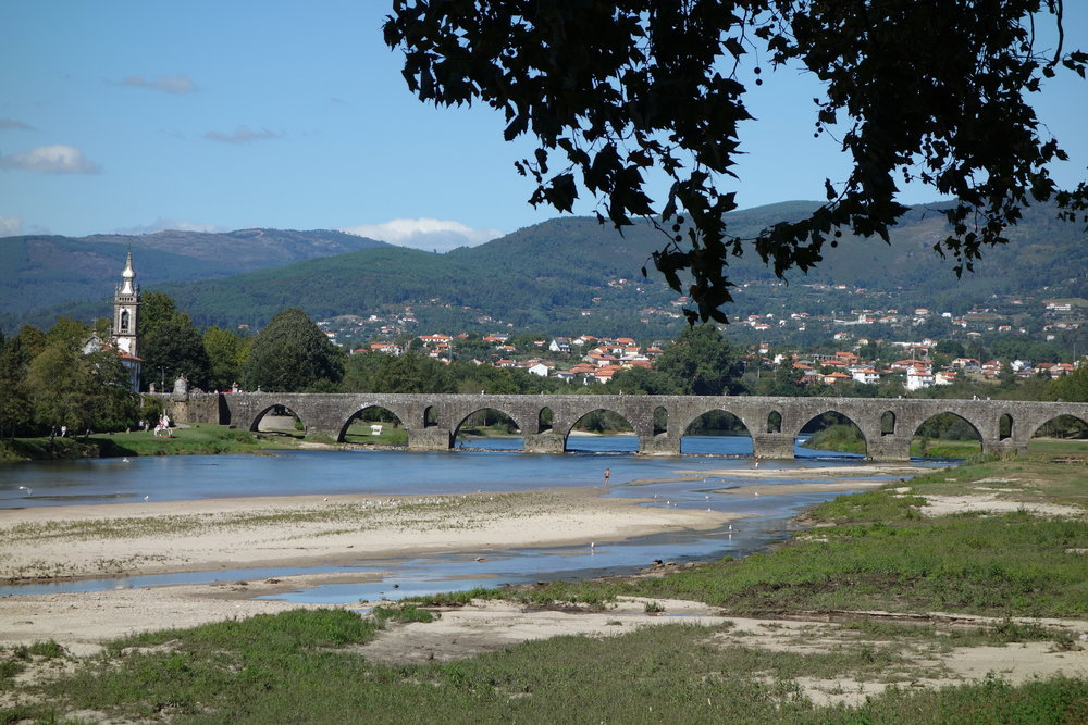 Ponte de Lima, one of the lovely medieval towns along the Camino Portugues, has an especially long bridge with many arches: it was built in the 14th century on Roman foundations.