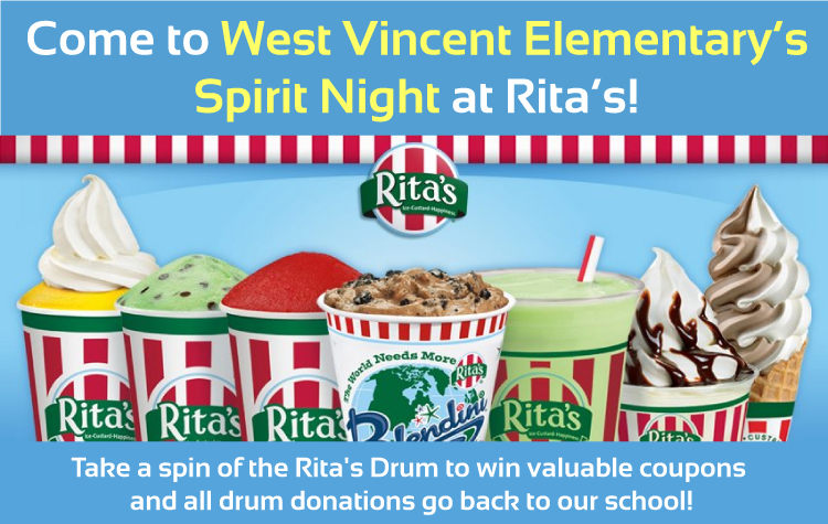 Come to West VIncent Elementary Spirit Night at RIta's Water Ice!