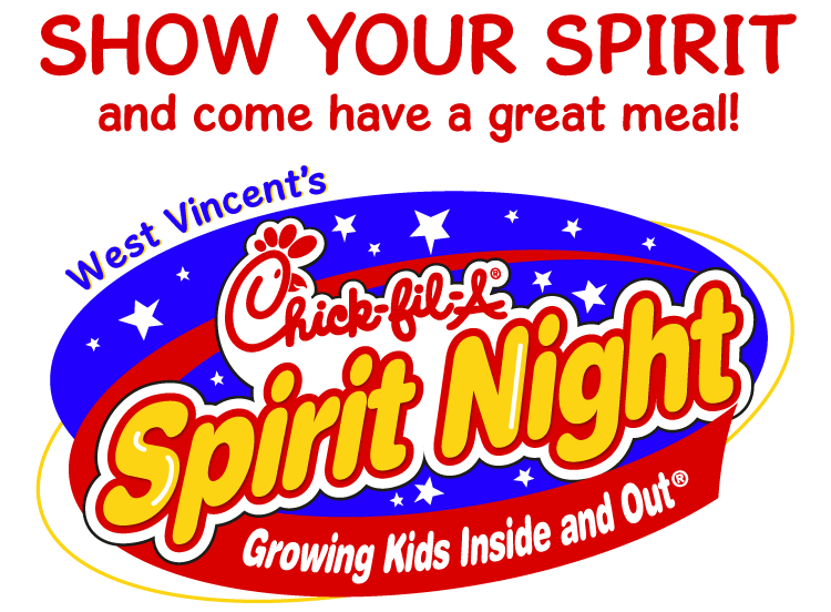 Come to West Vincent Elementary's Chick-fil-A Spirit Night on Thursday, October 10!