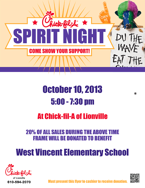 Chick-fil-A Spirit Night flyer fro West Vincent Elementary School