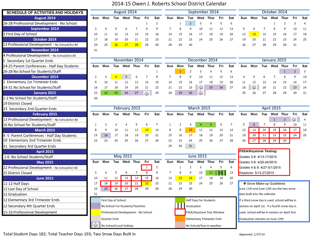 2014-2015 Owen J. Roberts School District Calendar