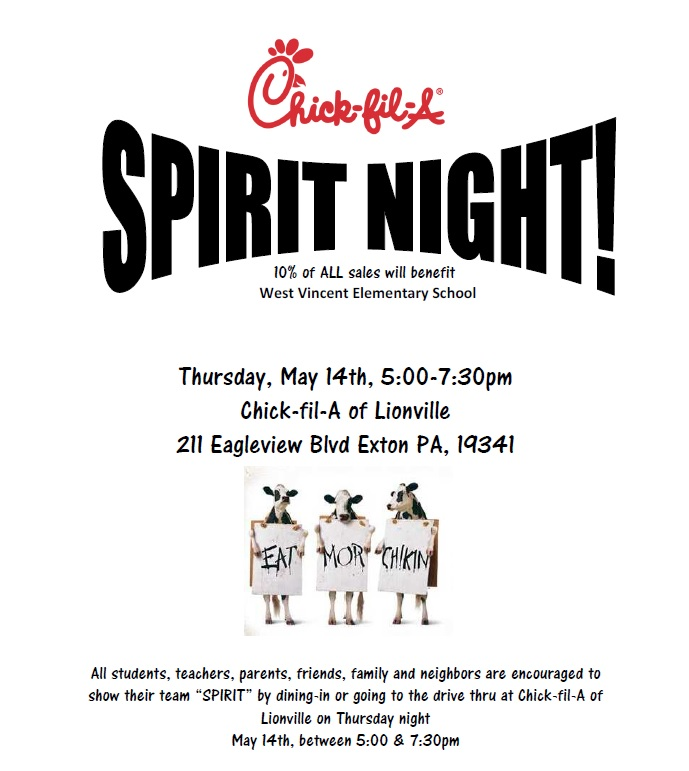 chick fil a spirit night may 14th west vincent elementary school pta. Black Bedroom Furniture Sets. Home Design Ideas