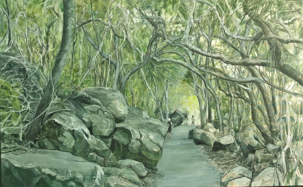 Burleigh Headland Walk was completed towards the end of 2016 and was shown in the Hillier & Skuse Gallery at Bundall. That walk with it's beautiful trees and magnificent rocks draws many visitors...yet it's feeling of intrigue and mystery is not tainted by human interference.   This painting is no longer available.