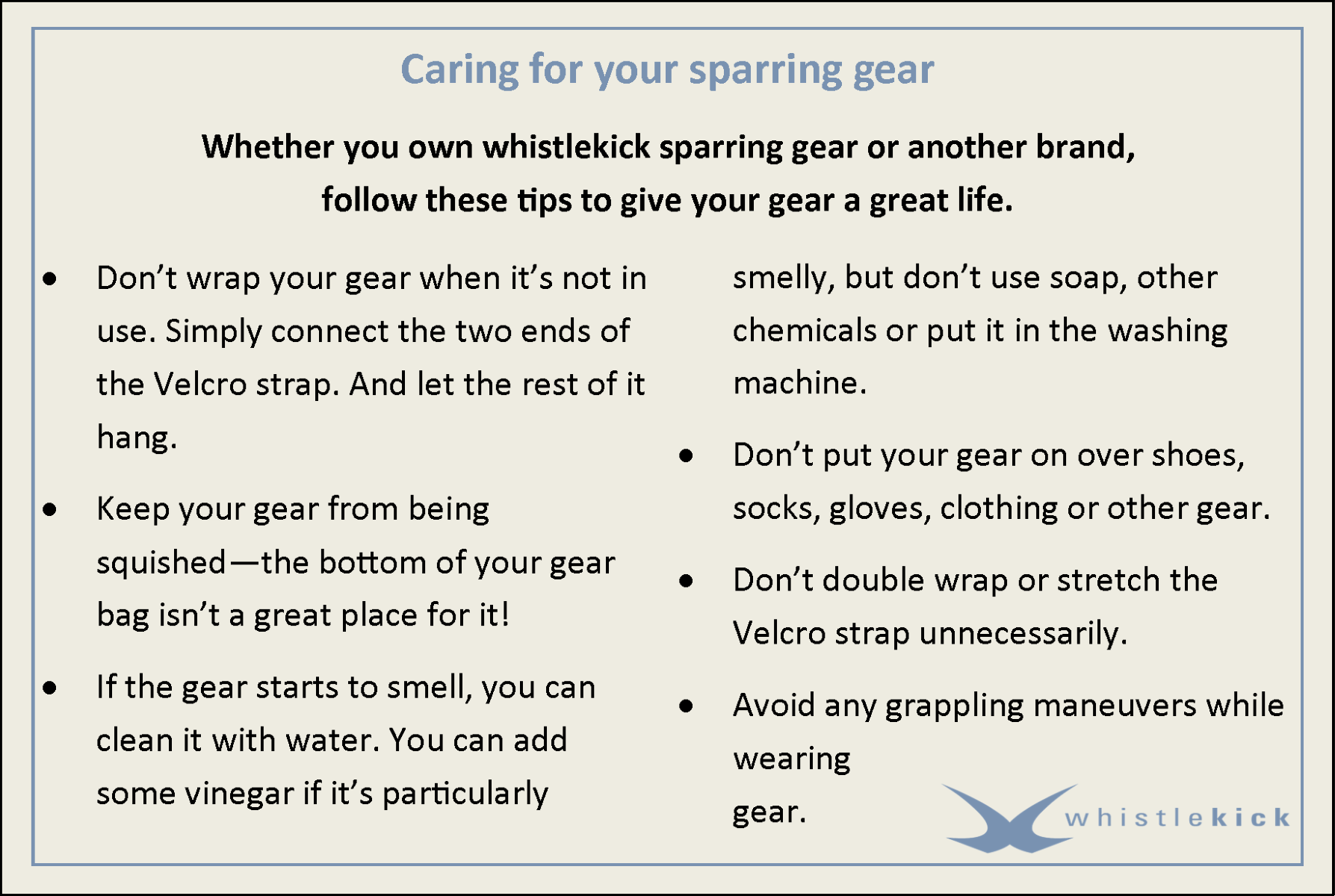 Feel free to download and distribute this sparring gear care sheet