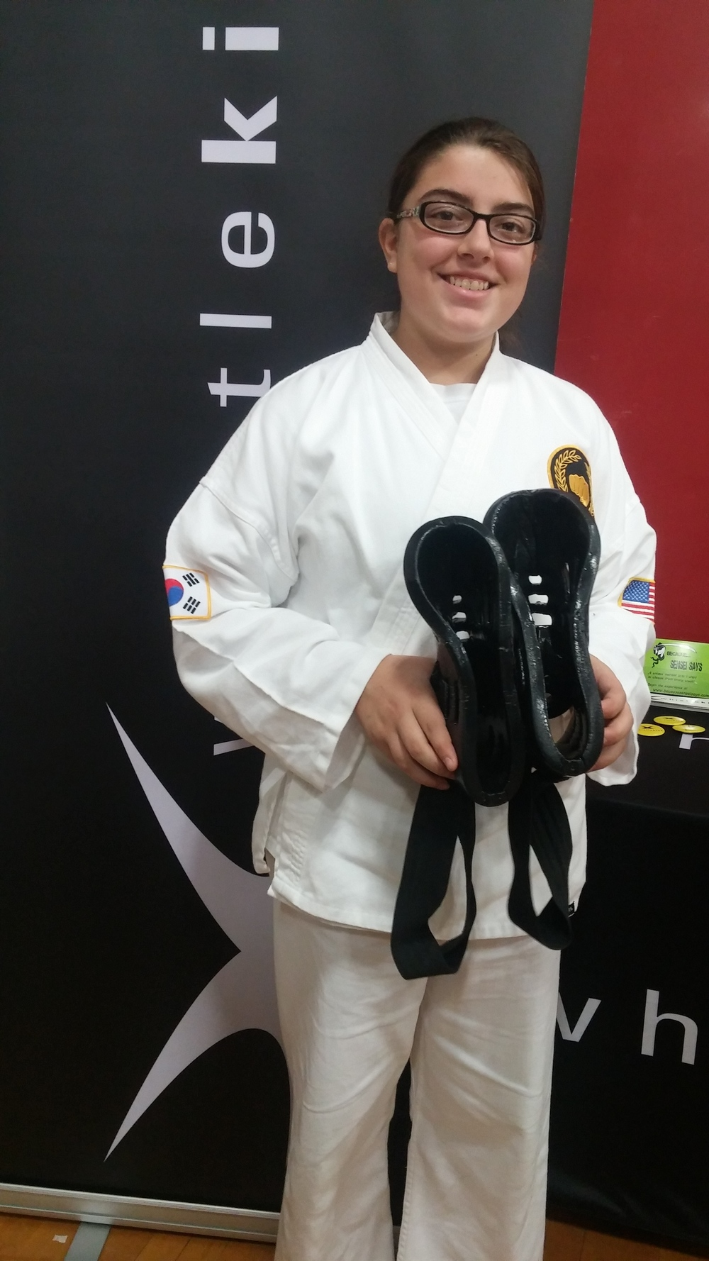 Alyssa Chandler, Green Belt, Age 13, with her 18 month old whistlekick Sparring Boots - and they look brand new!
