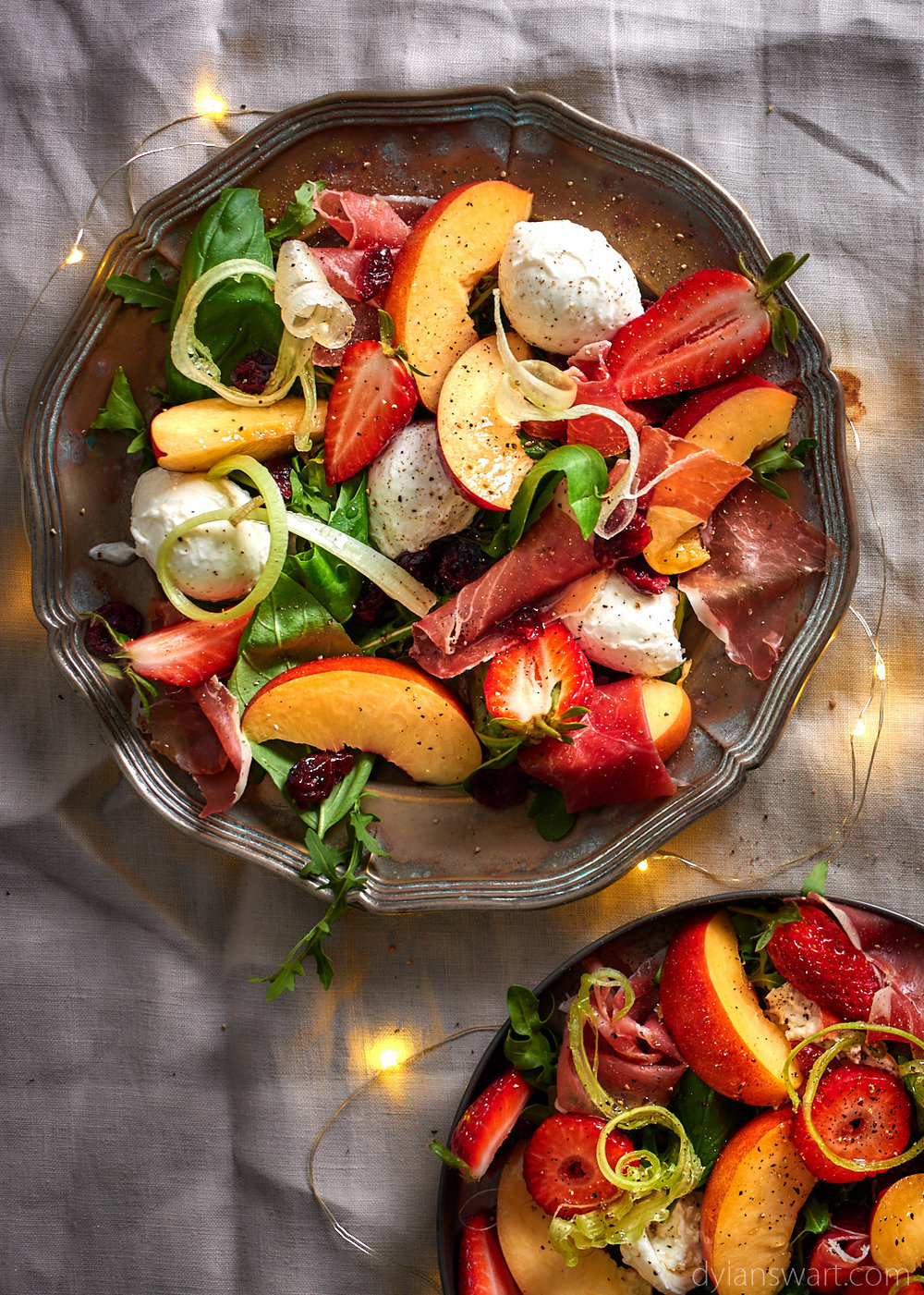 Nectarine, prosciutto and mozzarella salad
