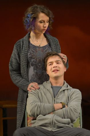 Jenny (Rebekah Brockman) and newly returned war vet Dean (George Hampe) try to patch things up. Photo: Kevin Berne