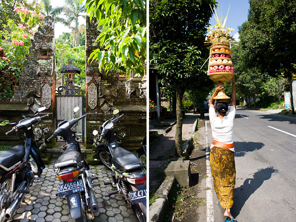 Bali Documentary Photograph, motorbikes and Balinese woman carrying ceremonial foods