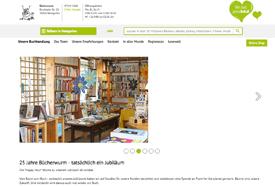 Webauftritt der Buchhandlung Bücherwurm, Weingarten (Baden)